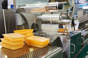 Industrial equipment for food packaging in factory